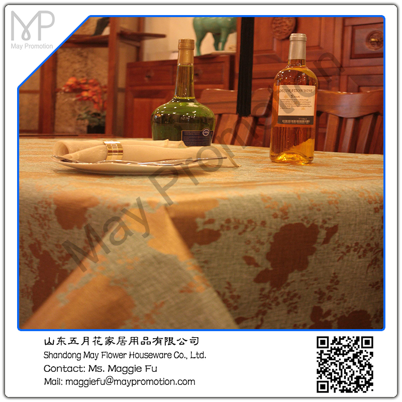 Golden Pattern Luxury PVC PEVA Printing Table Cloth With Non Woven Fabric  Backing